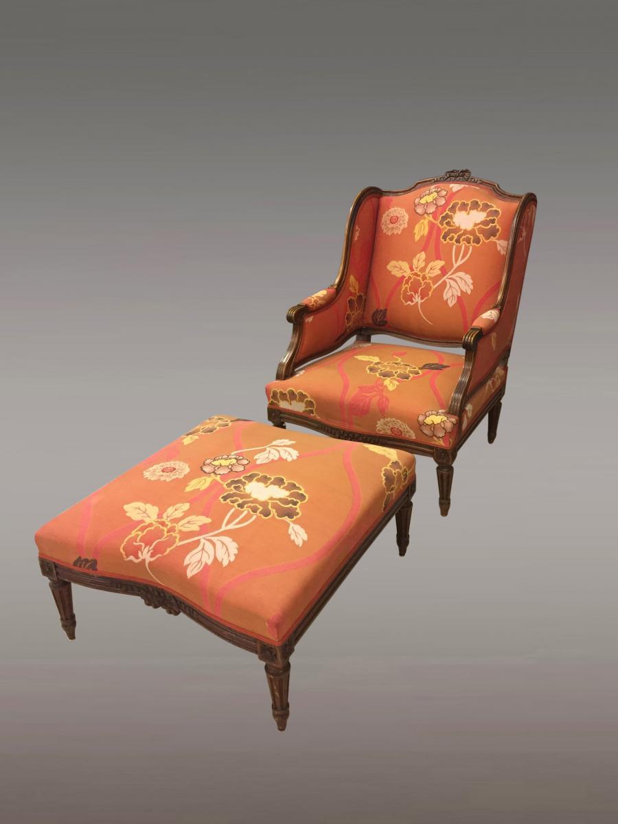 Bergère Et Repose-pieds Style Louis XVI