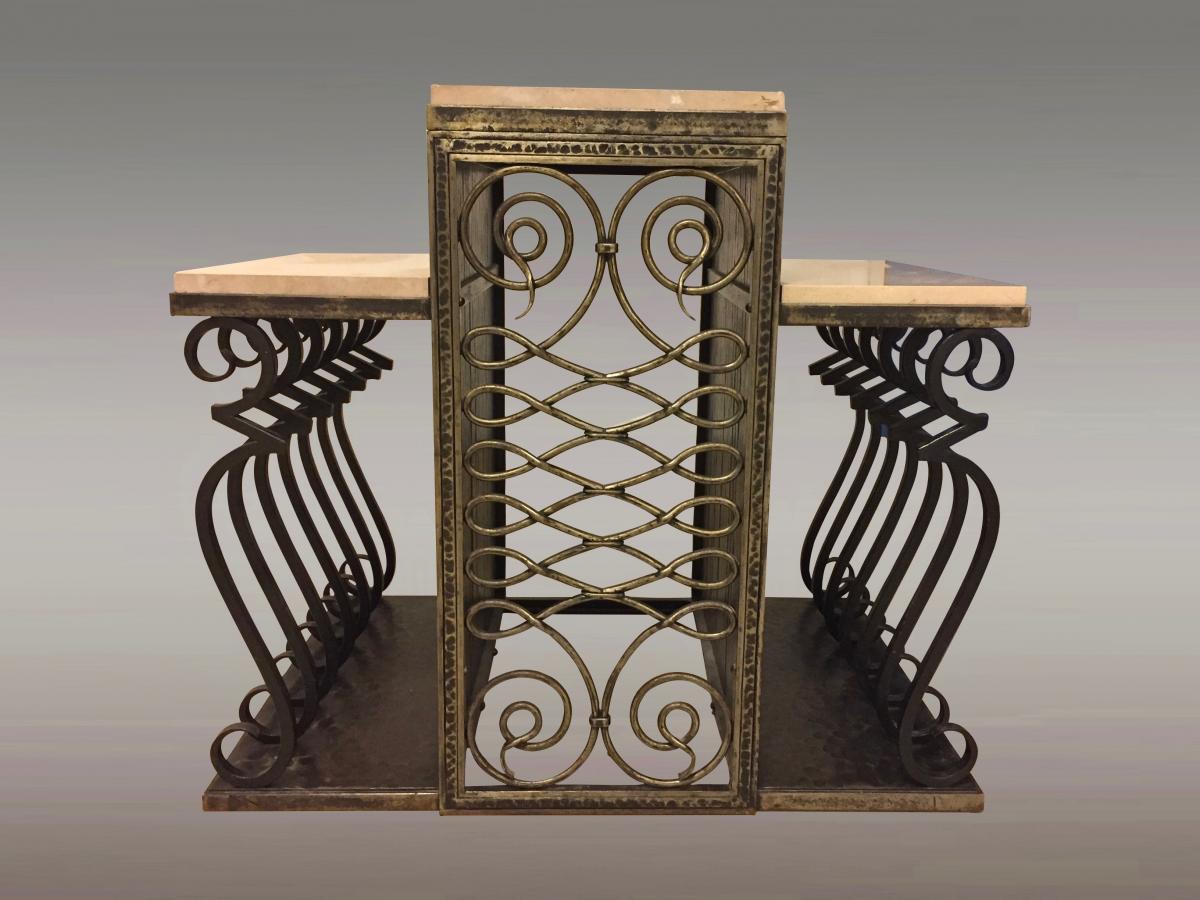 Console Wrought Iron Art Deco Signed Zadounaisky
