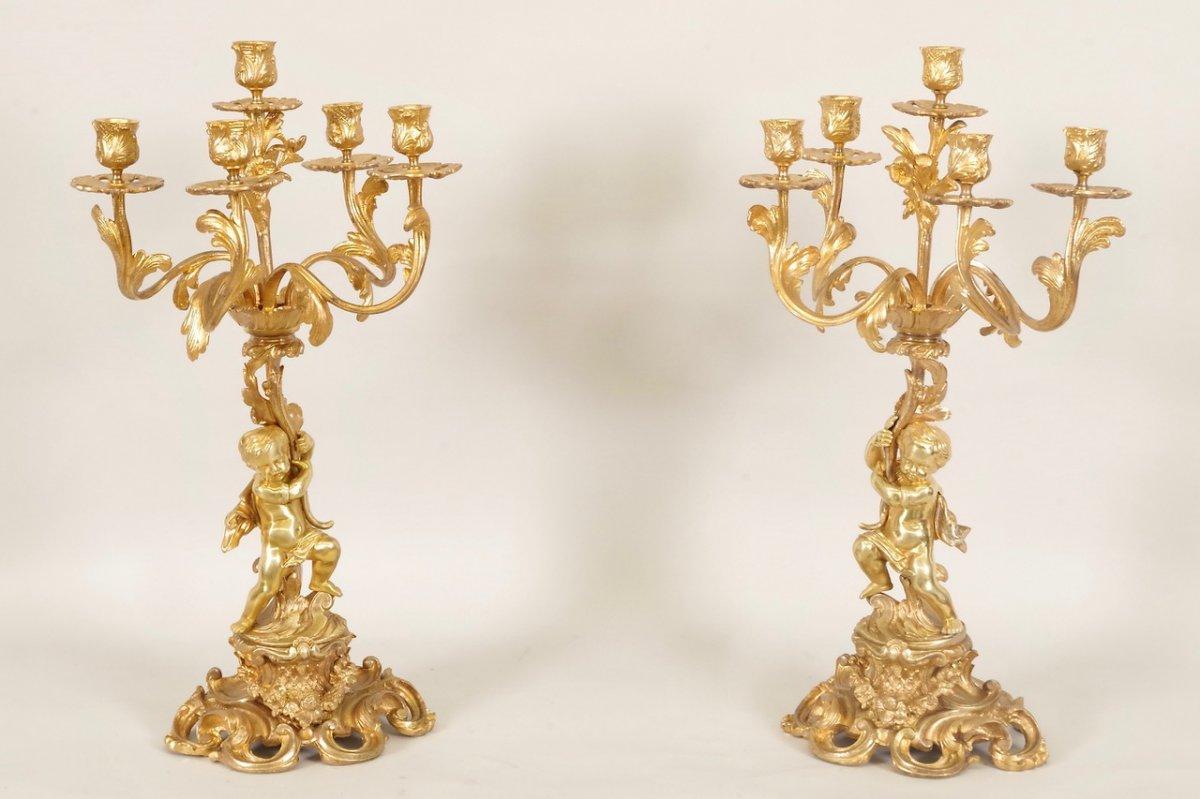 Paire de candélabres style Louis XV
