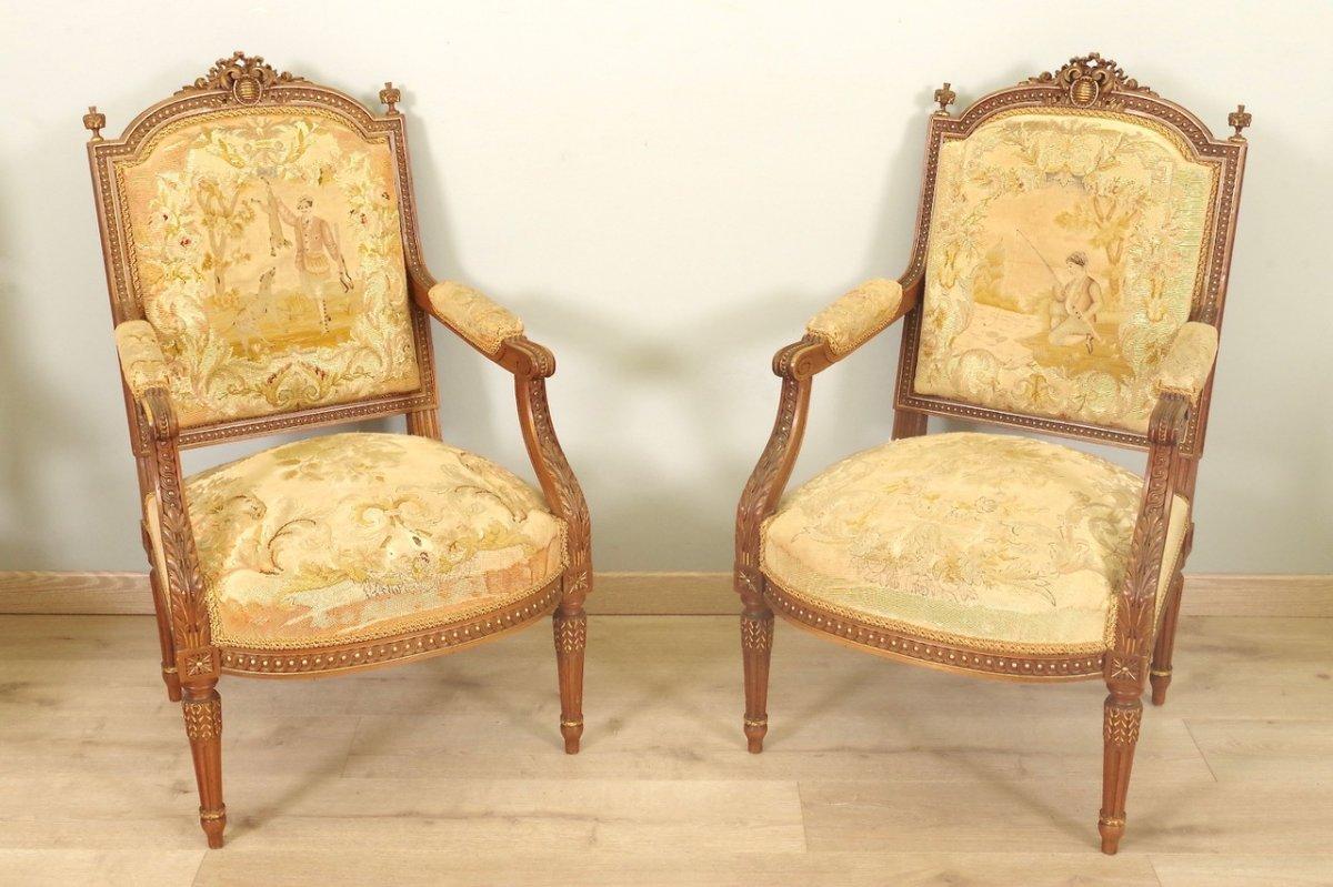 Fauteuils Style Louis XVI Petit Point