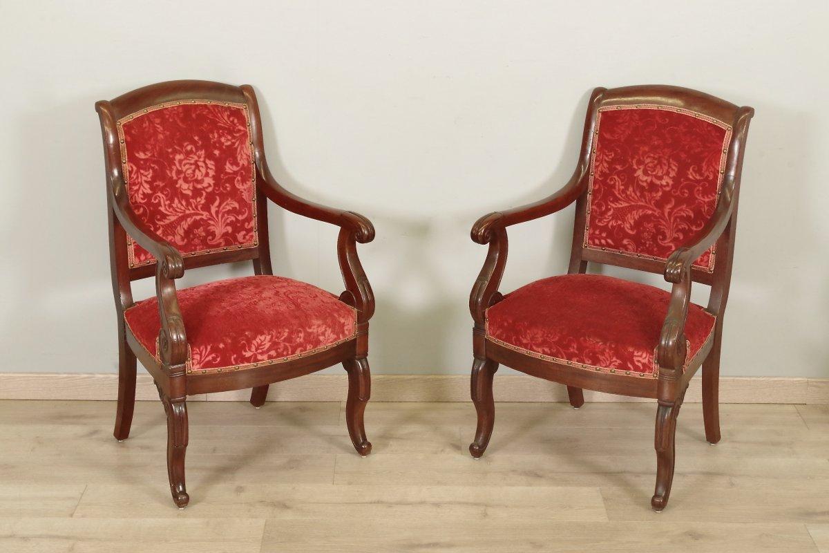 Pair Of Mahogany Armchairs Restoration Period