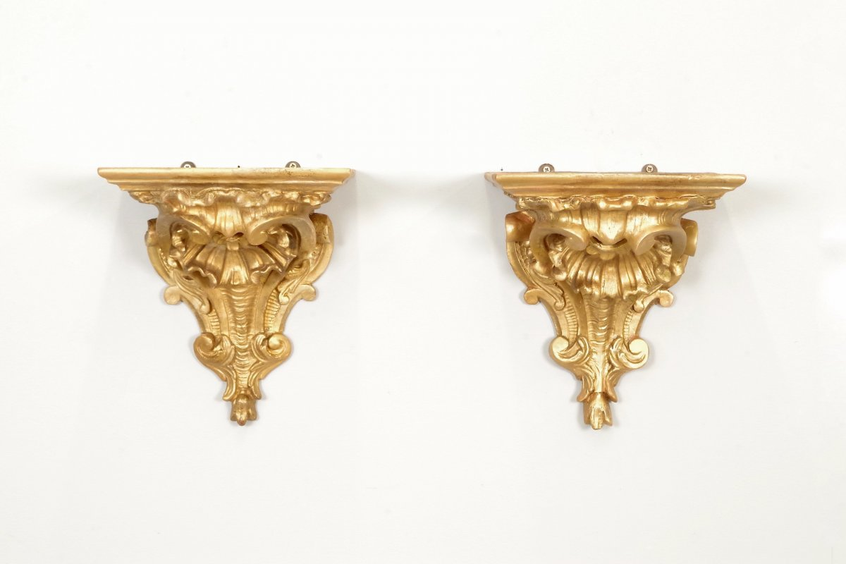 Pair Of Regency Style Wall Consoles Golden Wood