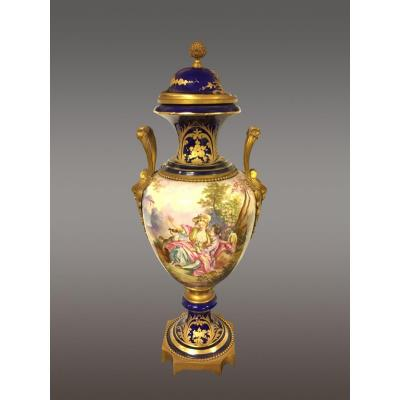 Grand Vase Faïence Style Sèvres