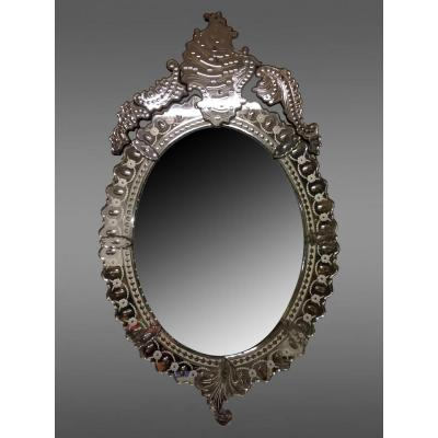 Miroir De Venise Ovale à Fronton