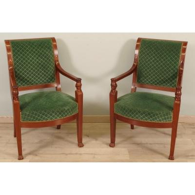 Pair Of Armchairs Back From Egypt Time Consulate