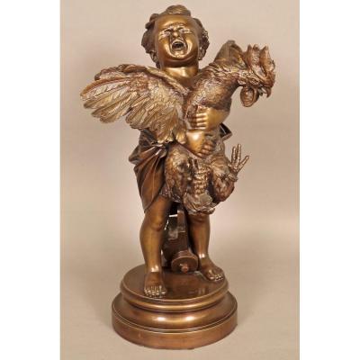 Bronze enfant au coq signé Cecioni
