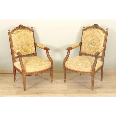 Fauteuils Style Louis XVI Petit Point