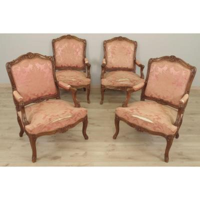 Four Louis XV Style Flat Back Armchairs