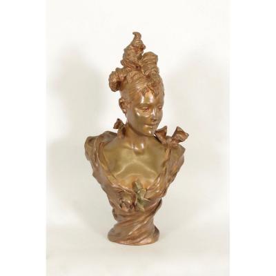 Bronze par Bruyneel : élégante Belle Epoque