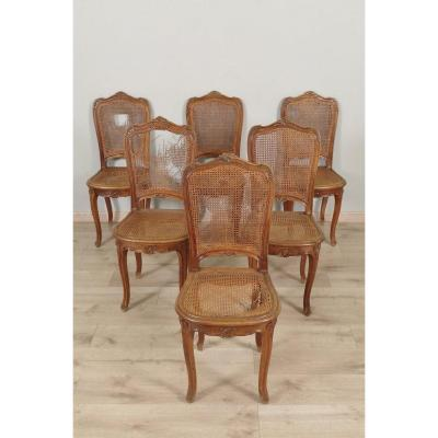 Six Louis XV Style Canned Chairs Walnut