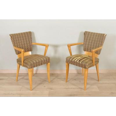 Pair Of 1950 Armchairs In Sycamore