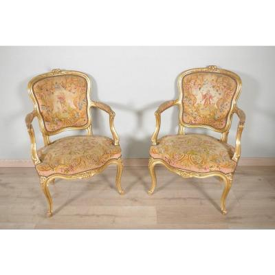 Louis XV Style Golden Wood Armchairs Petit Point