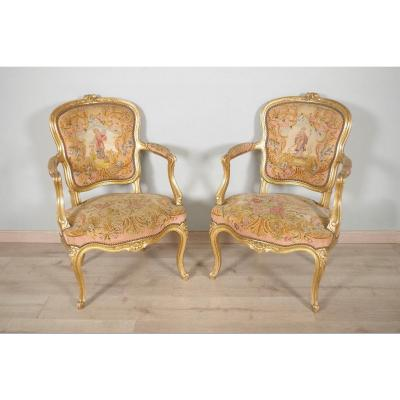 Pair Of Golden Louis XV Style Armchairs