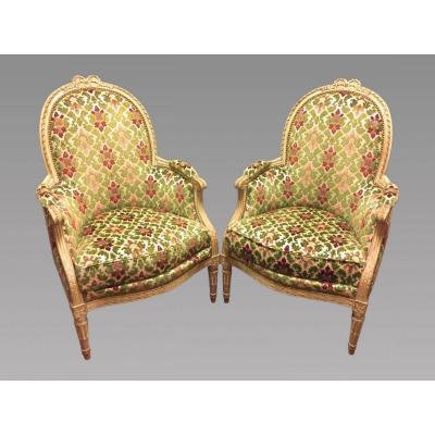Paire De Bergères Laquées Style Louis XVI