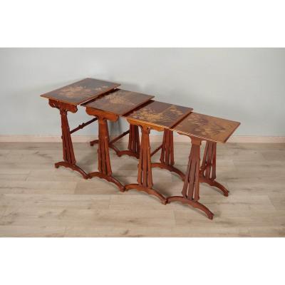 Art-nouveau Nesting Tables Signed Emile Gallé