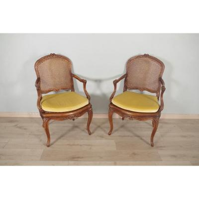 Pair Of Louis XV Style Cane Armchairs Nogaret