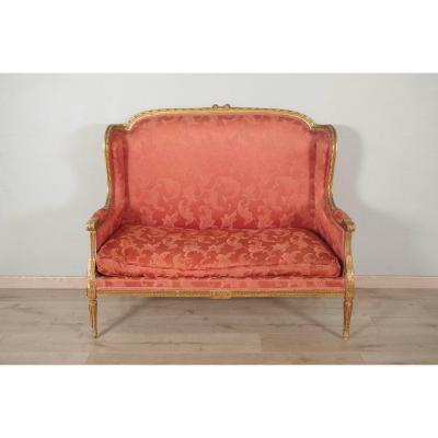 Louis XVI Style Golden Wood Sofa