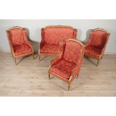 Louis XVI Style Living Room Golden Wood
