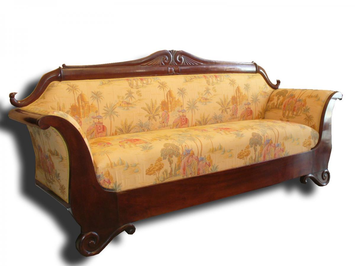Grande banquette d 39 poque biedermeier canap en acajou for Antiquaire lille meuble