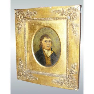 Portrait Huile Sur Panneau Metalique , Epoque Restauration, Cadre En Bois Et Stuc Doré XIXe