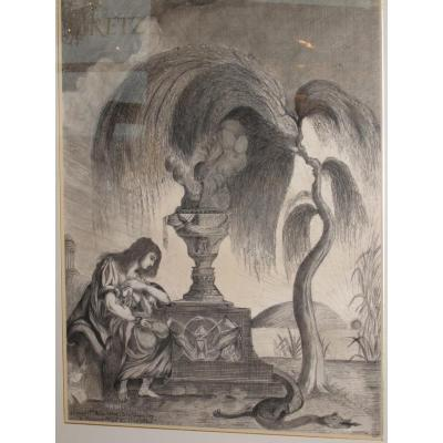 Ancien Authentique Dessin Seditieux, Le Saule Pleureur. Oeuvre Legitimiste Louis XVI