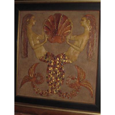 Ancienne Mosaique de Cuir Epoque 1925 Art Deco France