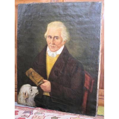 Ancien Authentique Portrait Lord Anglais Vers 1820 XIXe