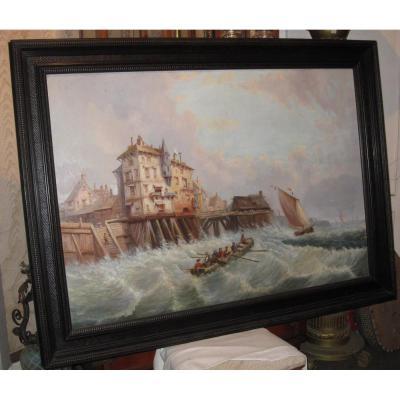 Ancienne Grande Et Authentique Huile Sur Toile Marine, Port De Zeebruges