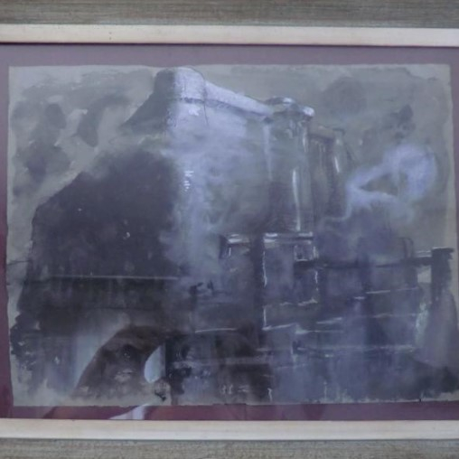 Framed Watercolor Of A Chateau Feodal
