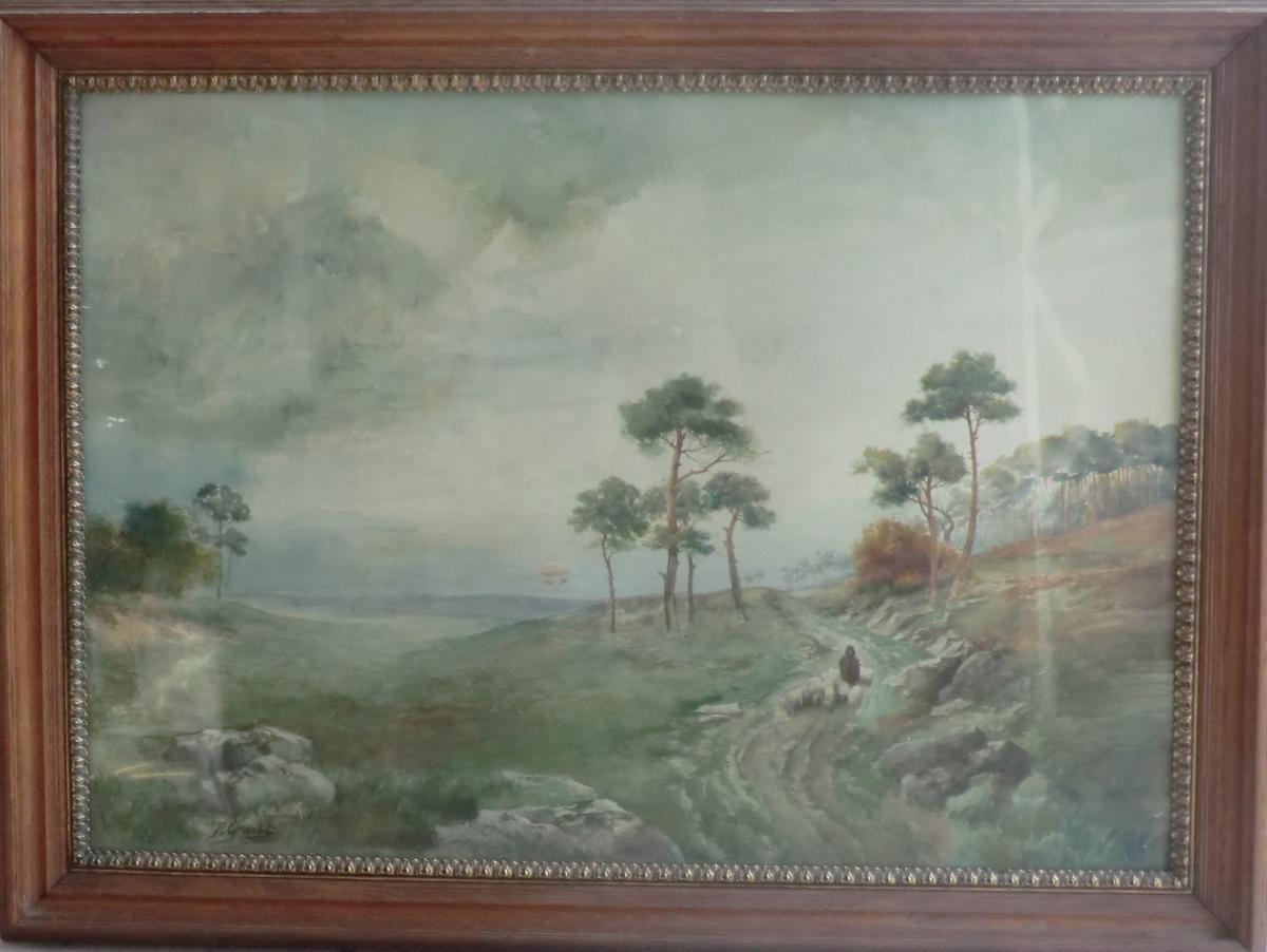 Grande Aquarelle Vue d'écosse Signée P Granet 1906