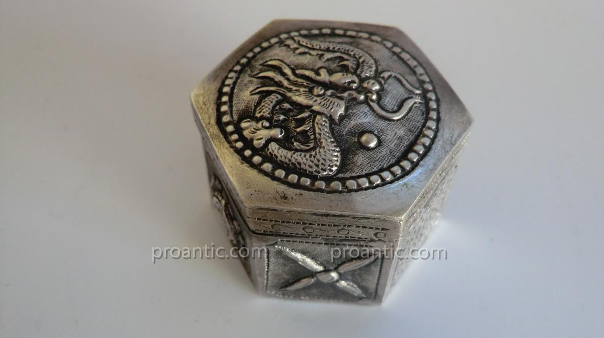 Opium Box In Silver Alloy
