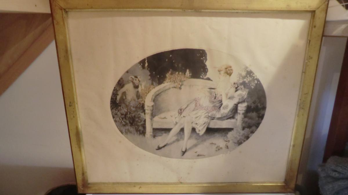 pointe seche signée georges grellet suiveur louis icart