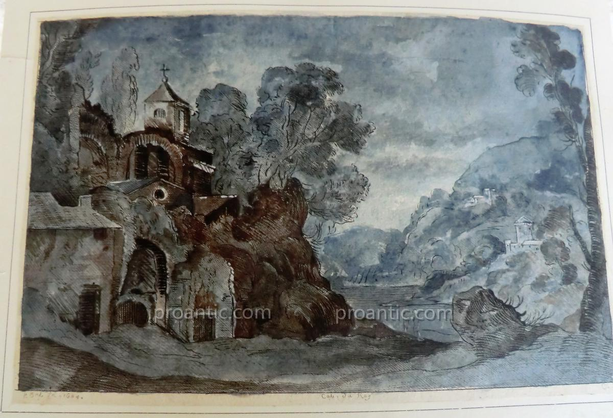 Watercolored Etching Cabinet Du Roi In 1604