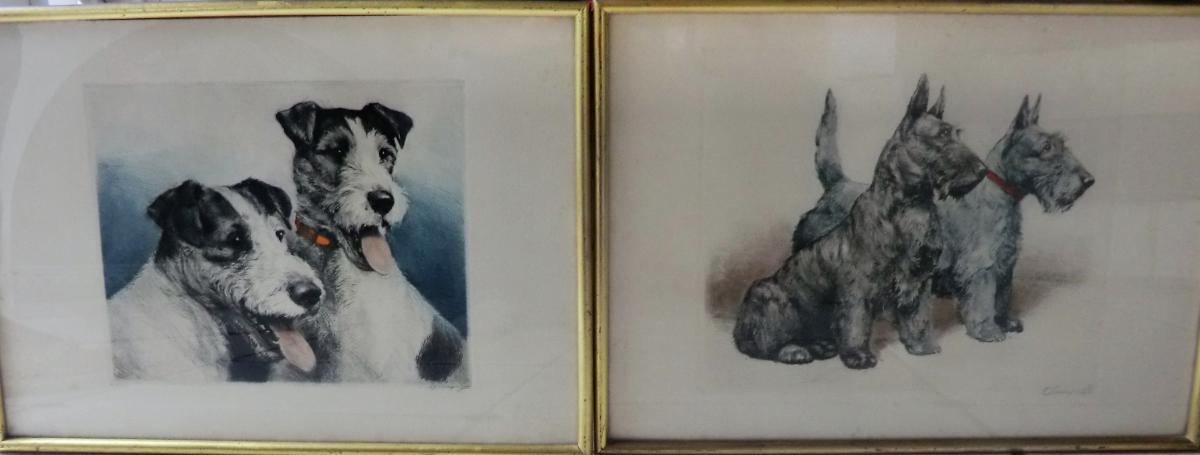 Paire De Gravures De Chasse Representant Des Fox Terriers Art Deco