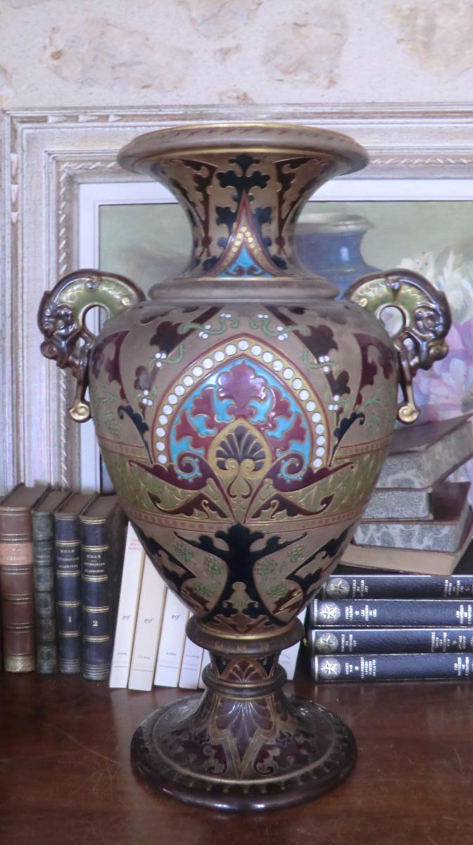 Grand Vase En Gres De Sarreguemines