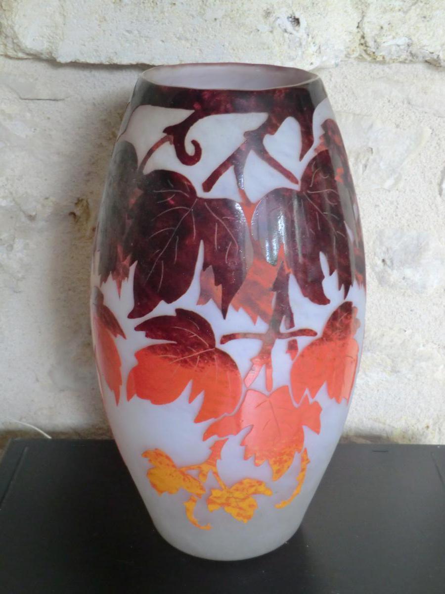 Vase Pate De Verre Degué Degagé A l'Acide