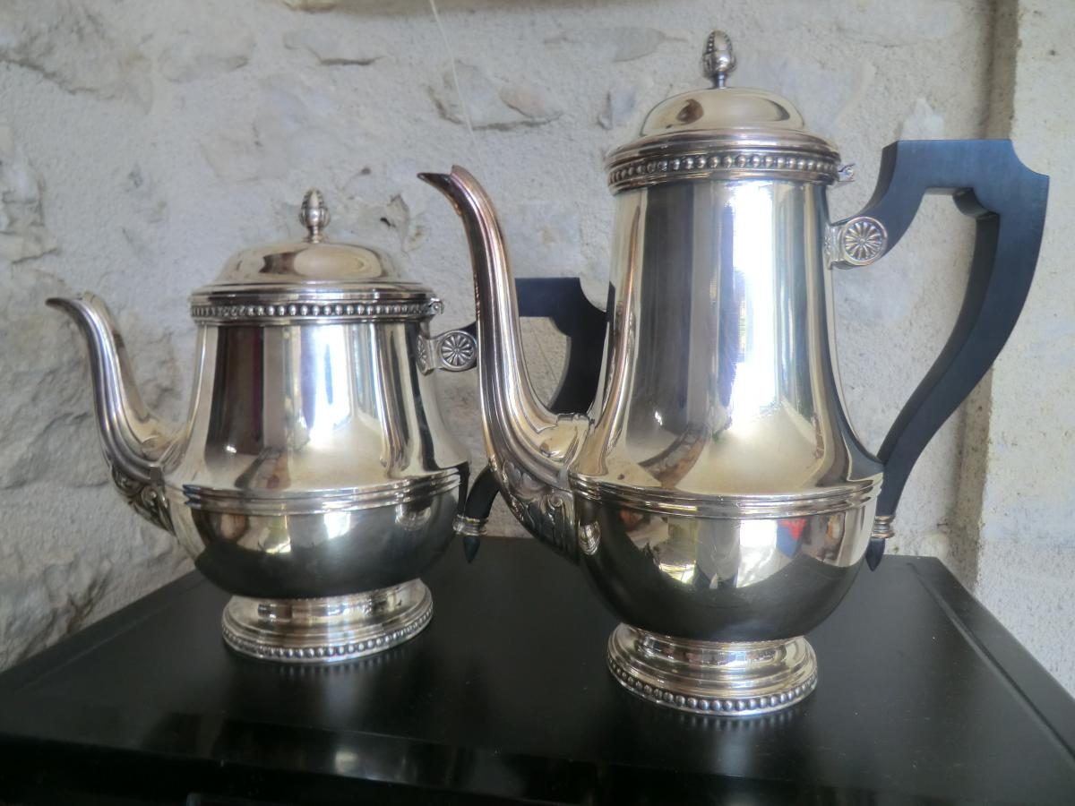 Cafetiere And Theiere Louis 16 Signed Ercuis
