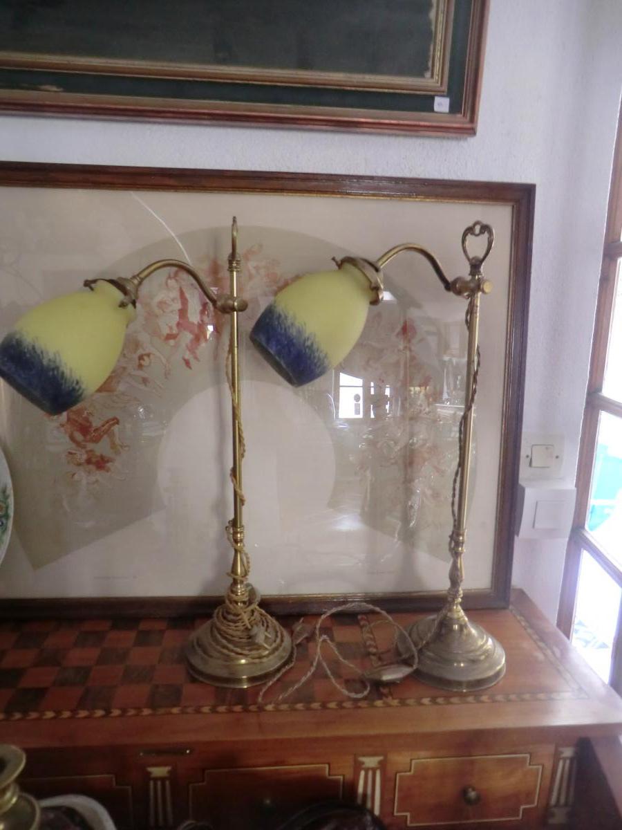 Large Pair Of Bronze Art Deco Lamps