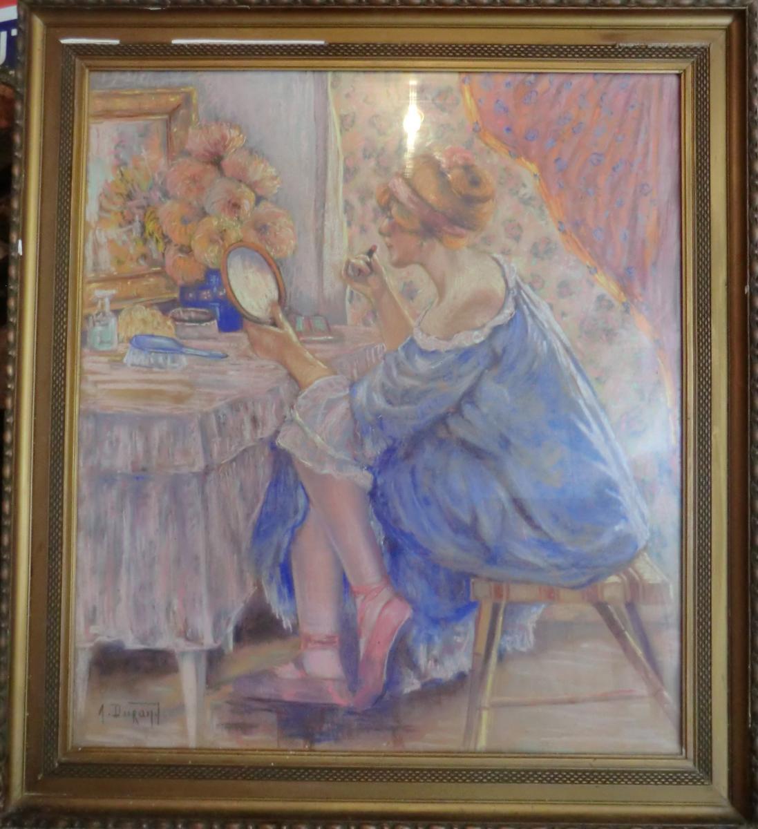 Grand Pastel Art Deco Jeune Femme A La Toilette Par A Durand