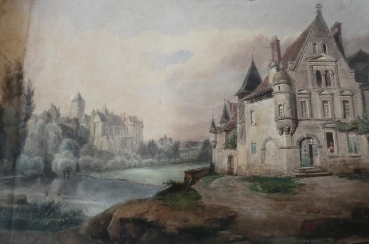 Edme François Ricois 1795/1881 Vue De Chateau