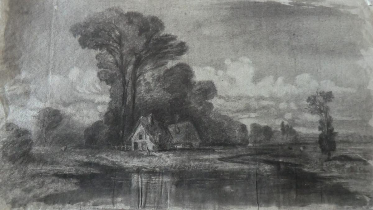 Dessin Paysage Attr A Gustave Allongé