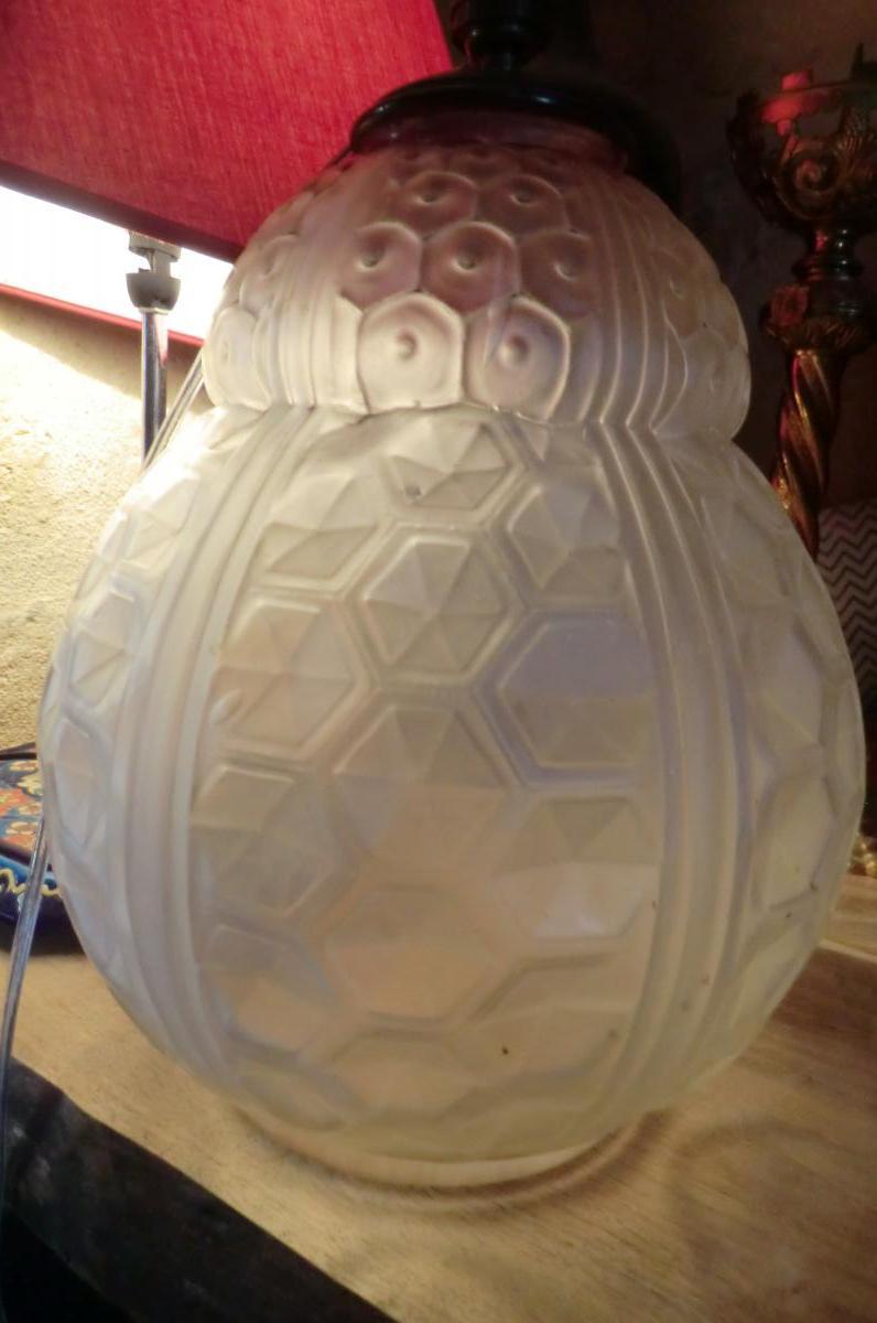 Pied De Lampe En Verre Moulé Pressé Art Deco Signé Ozonne