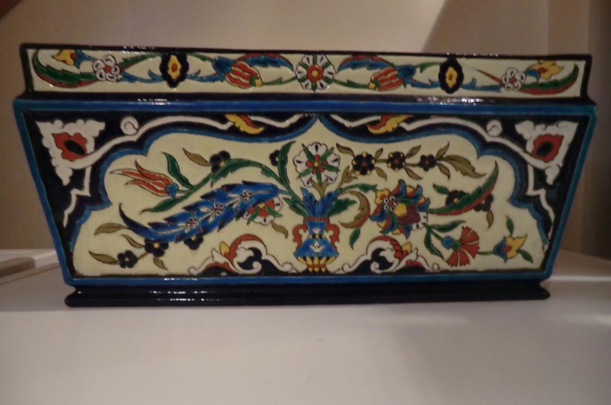 Jardiniere En Ceramique Dlg De Jules Vieillard Orientaliste Decor Iznik