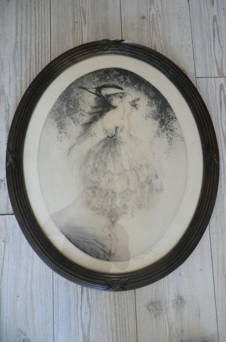 Gravure Louis Icart Femme Denudee A l'Oiseau