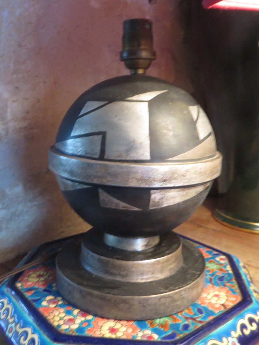 Pied De Lampe Art Deco En Metal A Double Patine Argent Signé