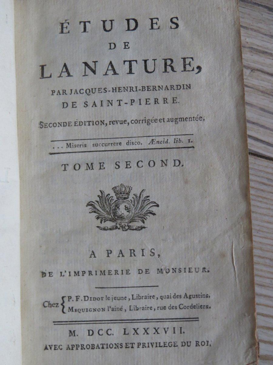 Etudes De La Nature Bernardin De Saint Pierre 1787 En 3 Tomes