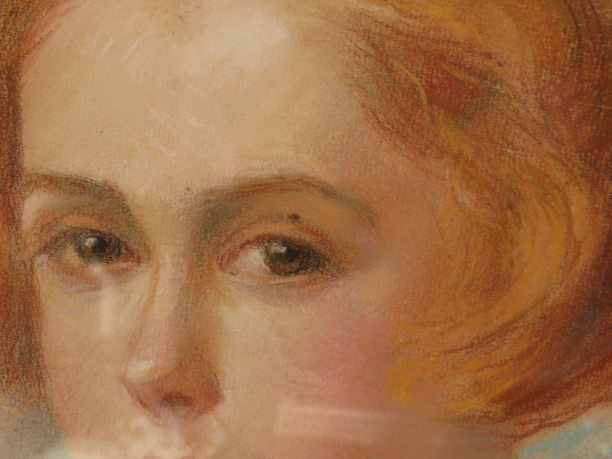 Portrait De Jeune Fille Ovale Avec Encadrement Signé Hondary