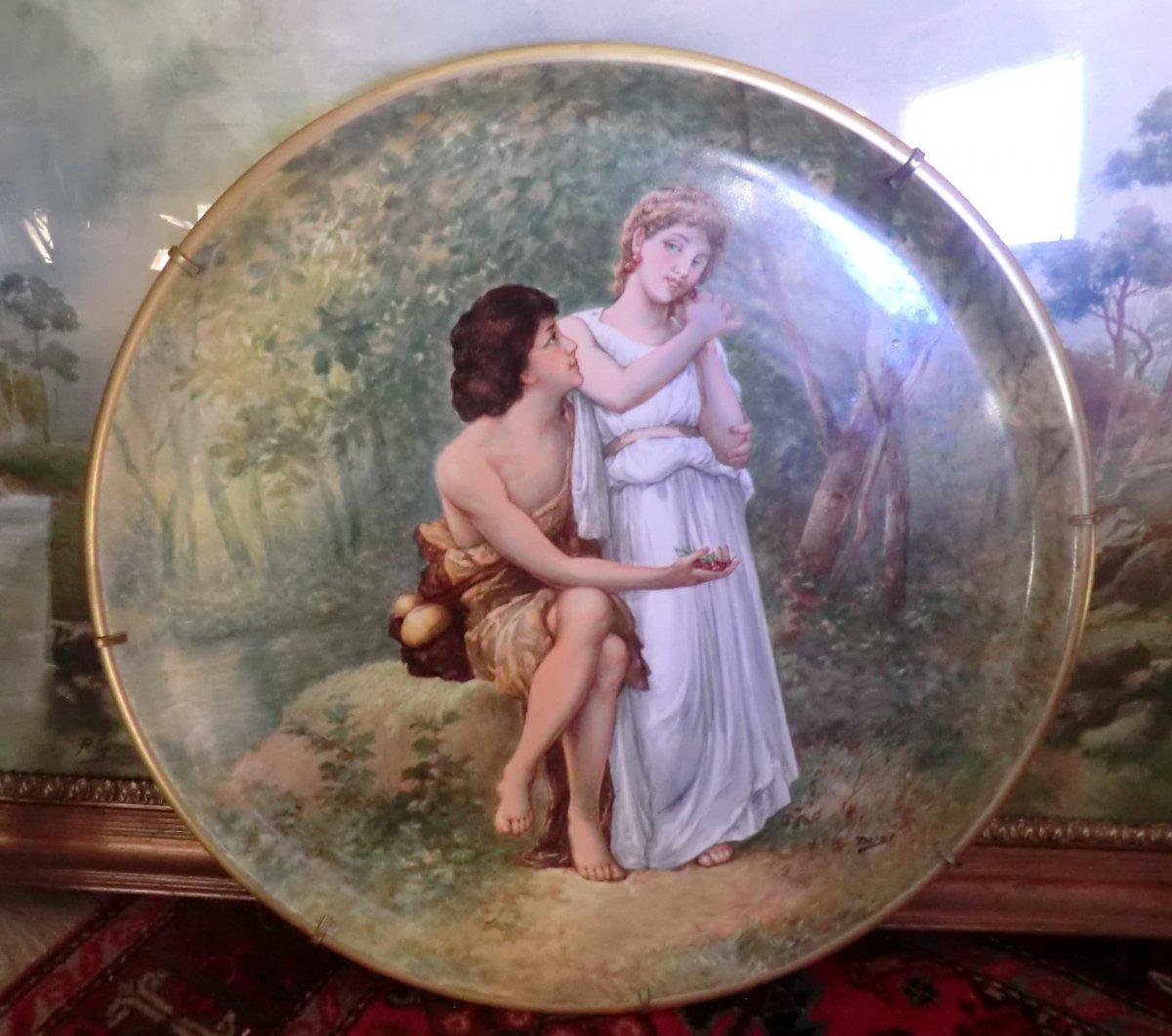 Important Polychrome Porcelain Dish Enameled From Limoges Signed Dubois