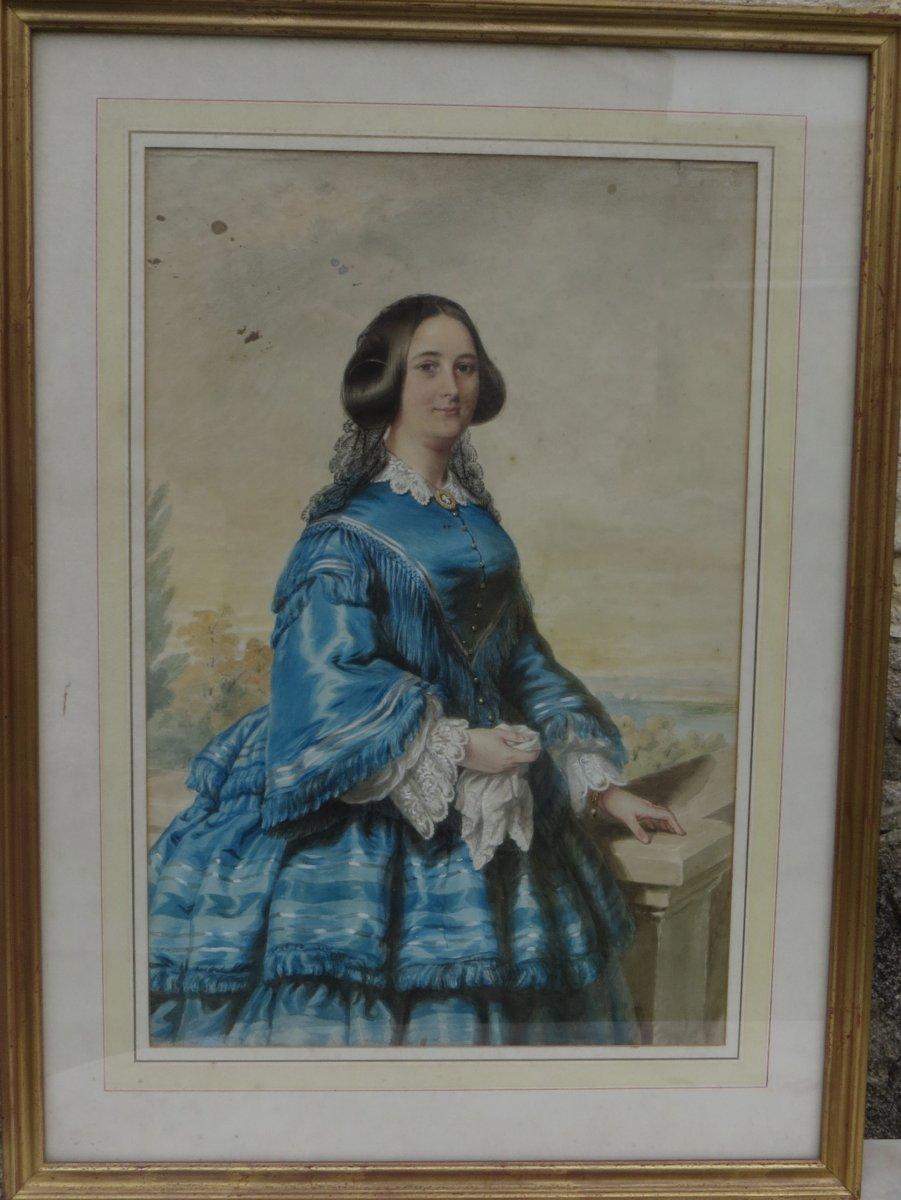 Grande Aquarelle Jeune Femme Aux Bijoux Epoque Victorienne British XIXè
