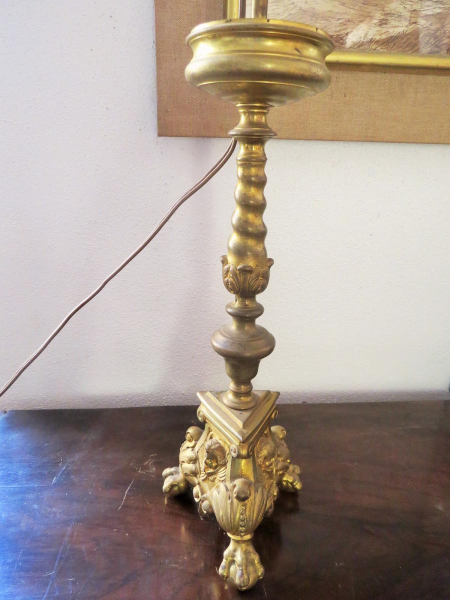 Pique Cierge Hollandais En Bronze Doré-photo-2
